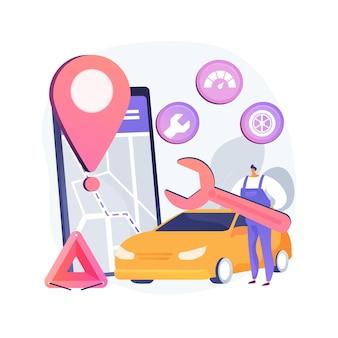 Ilustración de concepto abstracto de servicio en carretera