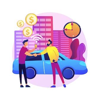 Ilustración de concepto abstracto de servicio de carsharing. servicio de alquiler, alquiler a corto plazo, solicitud de uso compartido de automóviles, solicitud de viaje, contratación de un automóvil entre pares, pago por hora.