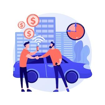 Ilustración de concepto abstracto de servicio de carsharing