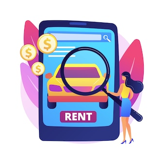 Ilustración de concepto abstracto de servicio de coche de alquiler. reserva de coche online, kilometraje gratuito, seguro a todo riesgo, vacaciones de verano, reserva remota, concesionario local, cerradura con llave, conducción.
