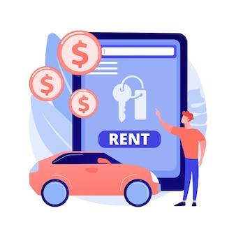 Ilustración de concepto abstracto de servicio de coche de alquiler