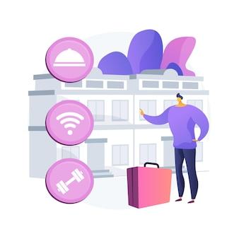 Ilustración de concepto abstracto de servicio de motel