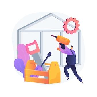 Ilustración de concepto abstracto de servicios de carpintero. mantenimiento de edificios y renovación de viviendas, reparación de muebles, tabiques de madera, gabinetes personalizados, marcos de ventanas, carpintería