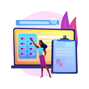 Ilustración de concepto abstracto de sistema de prescripción en línea. sistema de prescripción médica en línea, prescripción electrónica, farmacia en línea, prescripción electrónica, solicitud digital.