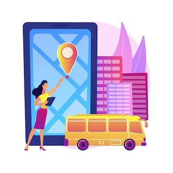 Ilustración del concepto abstracto del sistema de seguimiento del autobús escolar. aplicación de rastreo de autobuses, sistema de transporte inteligente para escuelas, rastreador de ubicación gps, software de navegación móvil.