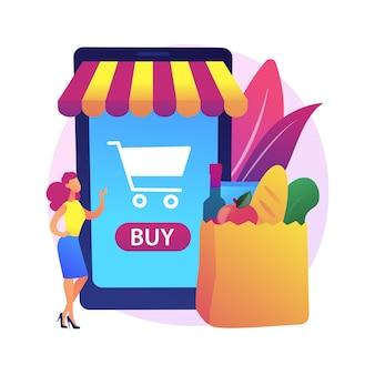 Ilustración de concepto abstracto de supermercado digital. compra digital, tecnología de la información, pago en línea, tienda de comestibles, aplicación minorista móvil, descuento en compras