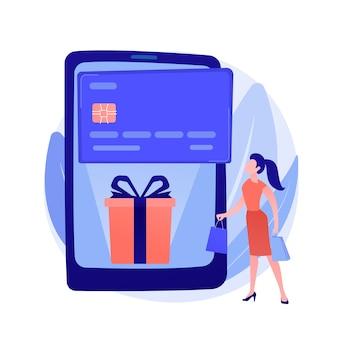 Ilustración de concepto abstracto de tarjeta de regalo digital