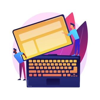 Ilustración de concepto abstracto de tecnología de dispositivo desmontable. pantalla de computadora portátil extraíble, teclado de computadora extraíble, dispositivo electrónico modular, tecnología desmontable.