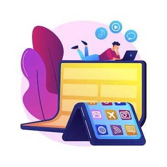 Ilustración de concepto abstracto de tecnología de dispositivo flexible. tecnología de dispositivo flexible, pantalla flexible de teléfono inteligente, electrónica de próxima generación, teléfono móvil plegable.