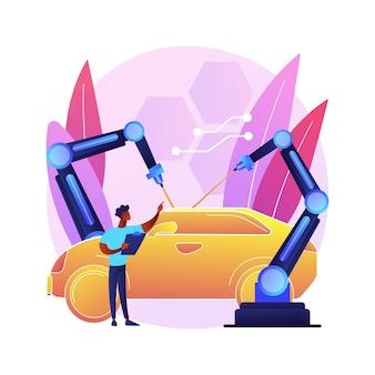 Ilustración de concepto abstracto de tecnologías láser. sistemas de comunicación óptica, instrumentos de medida innovadores, radiación electromagnética, industria del automóvil.