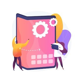Ilustración de concepto abstracto de teléfono inteligente plegable