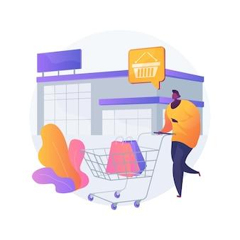 Ilustración de concepto abstracto de tienda de caja grande. superstore, gran caja de descuento, tienda de área grande, centro comercial, parque minorista, mercadería general, megastore especializada