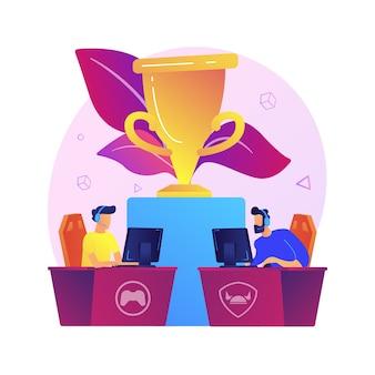 Ilustración de concepto abstracto de torneo de e-sport. transmisión de torneos de deportes electrónicos, evento oficial de juegos, campeonato de deportes electrónicos, arena de juegos, soporte para fanáticos de deportes electrónicos.