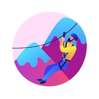 Ilustración de concepto abstracto de turismo extremo. deportes extremos, turismo de choque, evento de adrenalina, lugar peligroso, esquí y snowboard, buscadores de emociones, escalar montañas