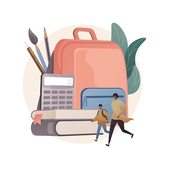 Ilustración de concepto abstracto de útiles escolares
