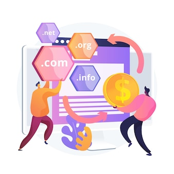 Ilustración de concepto abstracto de volteo de dominio. cambiar de dominio, cambiar de dominio, negocios en internet, comprar un nombre a un precio alto, registrar un sitio web, alojamiento web