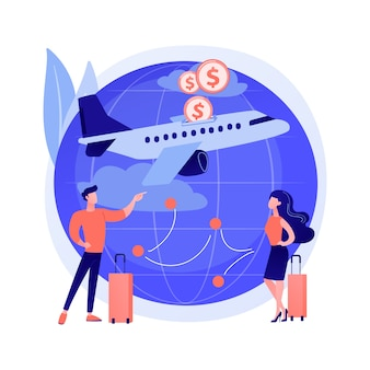 Ilustración de concepto abstracto de vuelos de bajo costo
