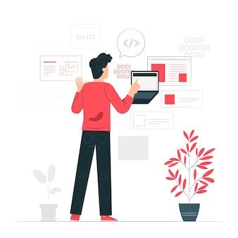 Ilustración del concepto de actividad del desarrollador
