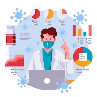Ilustración del concepto de actualización de coronavirus