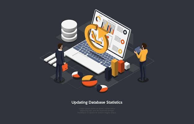 Ilustración del concepto de actualización de estadísticas de base de datos.