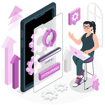 Ilustración del concepto de actualización del sistema operativo