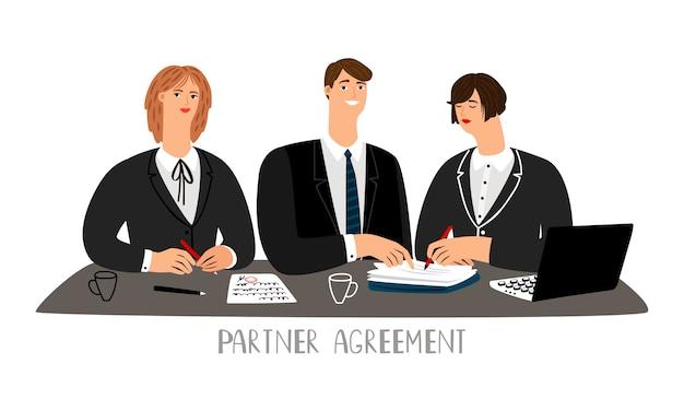 Ilustración del concepto de acuerdo de socio