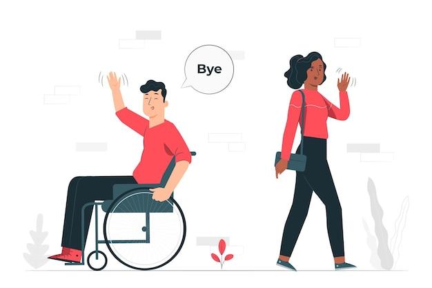Ilustración del concepto de adiós