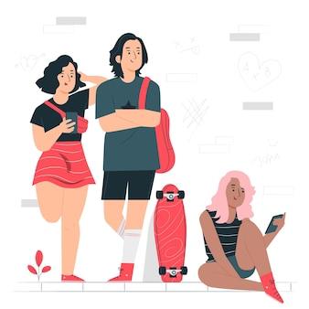 Ilustración del concepto de adolescente