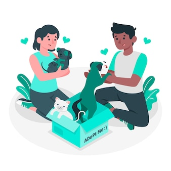 Ilustración del concepto de adoptar una mascota