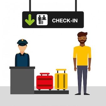 Ilustración del concepto de aeropuerto, hombre en la terminal de facturación del aeropuerto