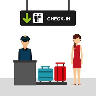 Ilustración del concepto de aeropuerto, mujer en la terminal de facturación del aeropuerto