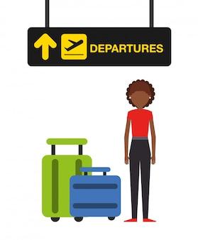 Ilustración del concepto de aeropuerto, mujer en la terminal de salidas del aeropuerto