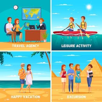 Ilustración del concepto de agencia de viajes