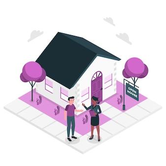 Ilustración del concepto de agente inmobiliario