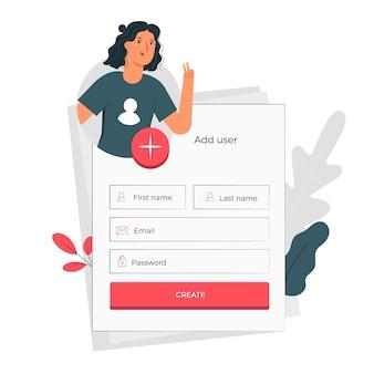 Ilustración de concepto de agregar un usuario