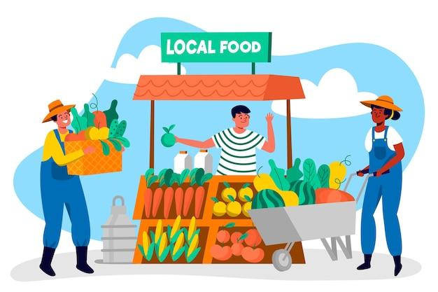 Ilustración del concepto de agricultura orgánica con agricultores