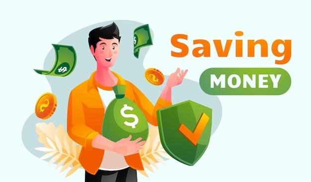 Ilustración del concepto de ahorro de dinero