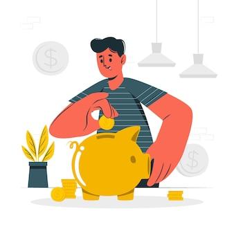 Ilustración del concepto de ahorro