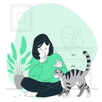 Ilustración del concepto de alergia al gato