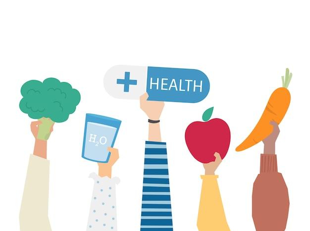 Ilustración del concepto de alimentación saludable