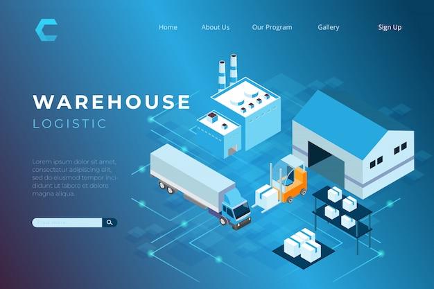 Ilustración del concepto de almacén logístico con una página de inicio en estilo isométrico 3d