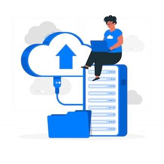 Ilustración del concepto de almacenamiento de memoria