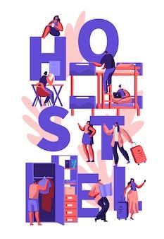 Ilustración de concepto de alojamiento de albergue de personajes