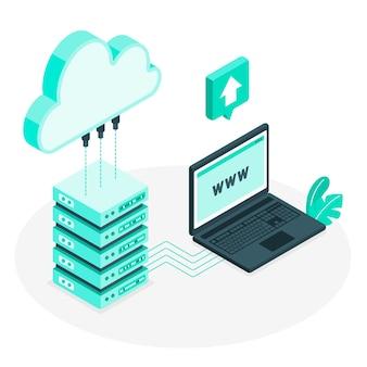 Ilustración de concepto de alojamiento de la nube