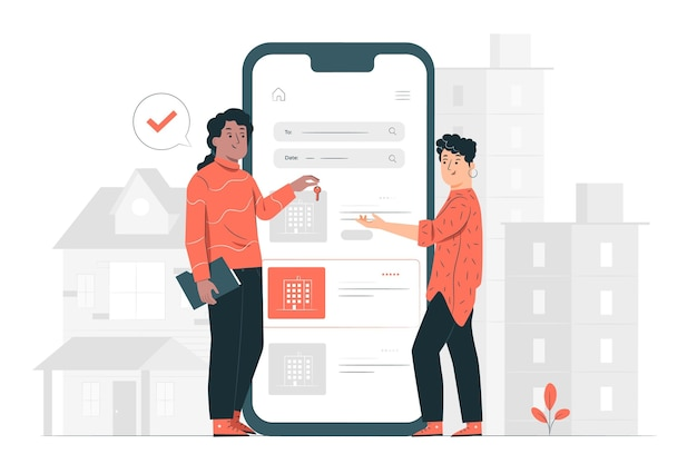 Ilustración de concepto de alquiler de apartamento