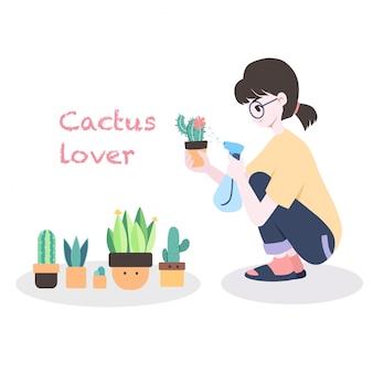 Ilustración de concepto de amante de cactus