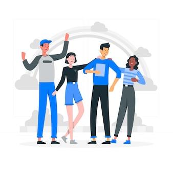 Ilustración del concepto de amistad étnica