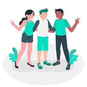 Ilustración de concepto amistad