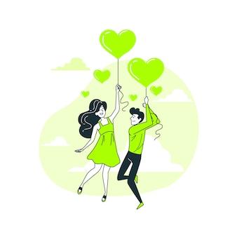Ilustración del concepto del amor está en el aire