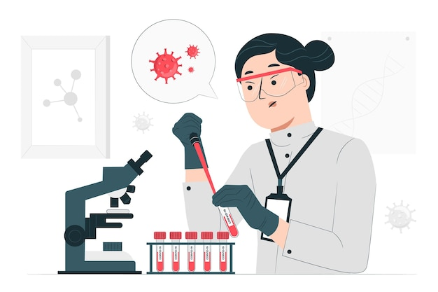 Ilustración del concepto de análisis de sangre (covid-19)